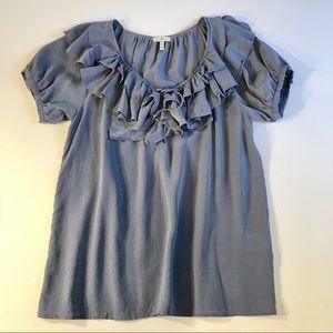 Joie 100% Silk Ruffle Short Sleeve Blouse